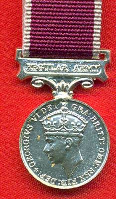 Army Long Service and Good Conduct Medal George VI issue, 2nd type 'Fid.Def.' 1949-1953 with regular army bar.  (miniature)