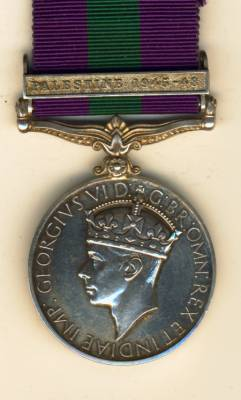 General Service Medal 1918-1962 3rd issue George VI IND IMP:, 1 clasp, Palestine 1945-48. AS.12933 Private M. Leboto, African Pioneer Corps