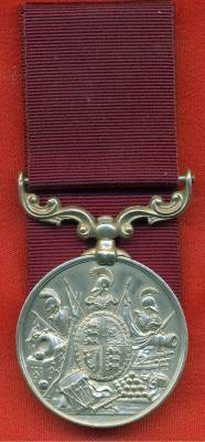 Army Long Service and Good Conduct Medal Victoria issue, 3rd type 1874-1901, swivelling scroll suspension with smaller reverse lettering. 2829 Private J. Spinks, Rifle Brigade
