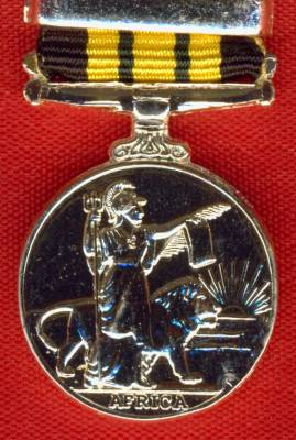 Africa General Service Medal 1902-1956, Good quality modern issue (silvered base metal), GVR Nyasaland 1915.  (miniature)