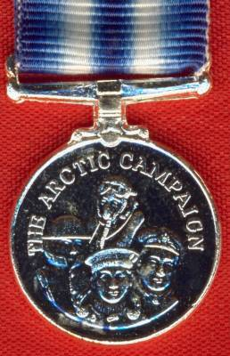 Arctic Campaign Medal, Good quality modern issue silvered base metal.  (miniature)