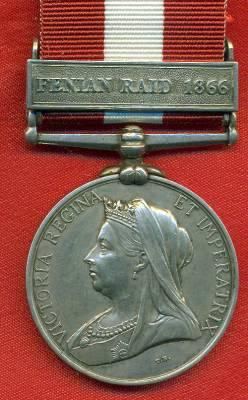 Canada General Service Medal 1866-1870, 1 clasp, Fenian Raid 1866. 1505 Driver J. Thompson, Royal Artillery
