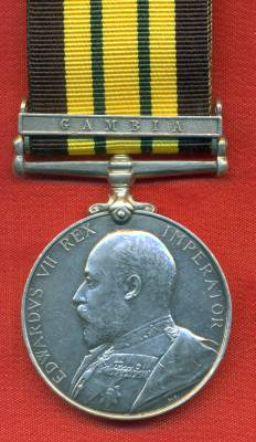 Africa General Service Medal 1902-1956 Edward VII, 1 clasp, Gambia. 1275 Private J. Belgrave, 3rd West India Regiment