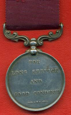 Army Long Service and Good Conduct Medal Victoria issue, 3rd type 1874-1901, swivelling scroll suspension with smaller reverse lettering. 5392 Colour Sergeant J. Hayter, Rifle Brigade