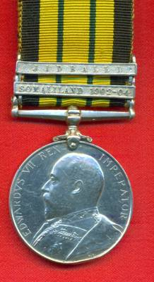 Africa General Service Medal 1902-1956 Edward VII, 2 clasps, Somaliland 1902-04, Jidballi. 5059 Private F. Rustell, 1st Hampshire Regiment