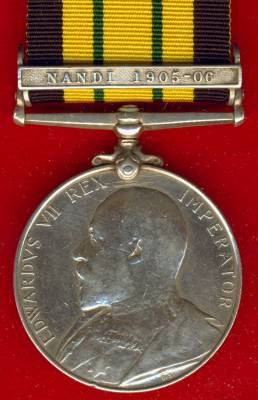 Africa General Service Medal 1902-1956 Edward VII, 1 clasp, Nandi 1905-06. 363 Private John, 1/ King's African Rifles