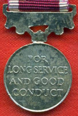 Army Long Service and Good Conduct Medal Elizabeth II issue, 2nd type 'Dei Gratia' post 1954 with regular army bar.  (miniature)